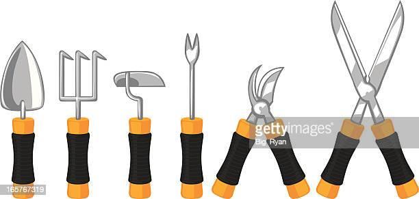 garden tools - pruning shears stock illustrations, clip art, cartoons, & icons