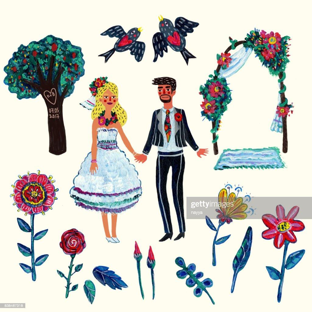 Garten Hochzeit Clipart Mit Braut Brautigam Zwei Swallowes Blumen