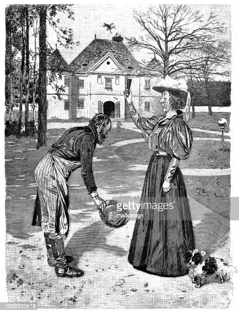 Gardener greets the woman with a deep respect - 1896