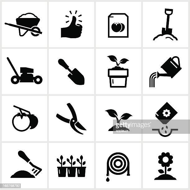 gardening and planting icons - watering can stock illustrations