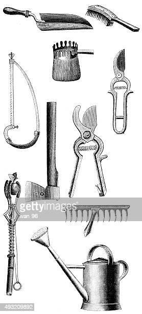 ilustraciones, imágenes clip art, dibujos animados e iconos de stock de equipos de jardinería - scoop shape