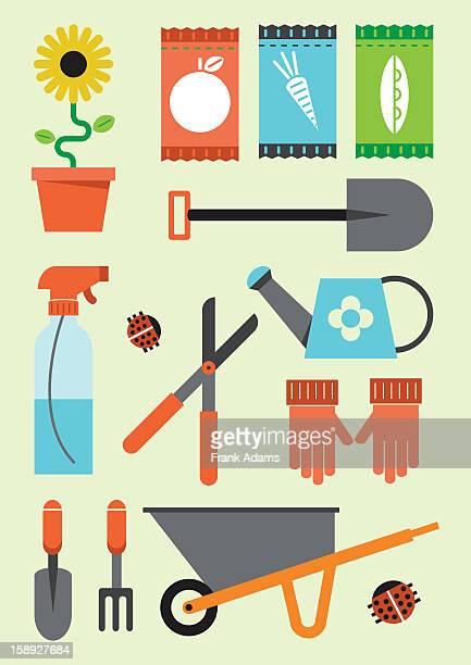 gardening icons - gardening glove stock illustrations, clip art, cartoons, & icons