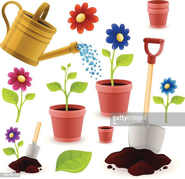 gardening - watering can stock illustrations