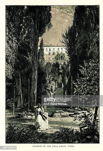 Gardens of the Villa d'Este, Tivoli, Italy, wood engraving (1875