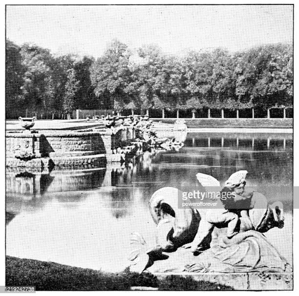 gardens of versailles in versailles, france - 19th century - versailles stock illustrations