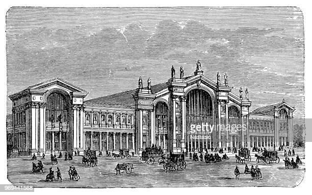 gare du nord trainstation in paris, france - gare du nord stock illustrations