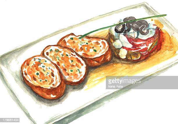 garlic toast with olive salad - toast bread stock illustrations, clip art, cartoons, & icons