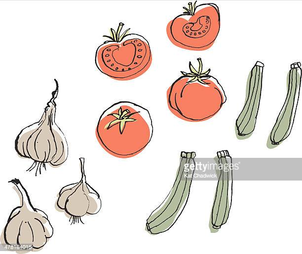 garlic, tomatoes and zucchini against white background - marrom stock illustrations