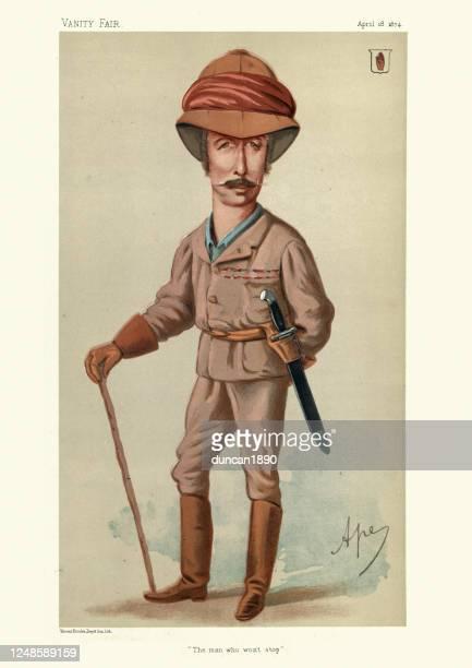 garnet joseph wolseley, vanity fair caricature - army helmet stock illustrations