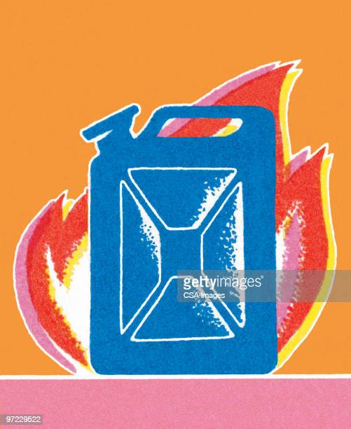 gas can - demolished stock illustrations