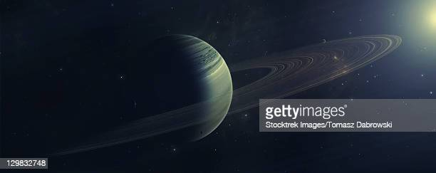 gas giant orbiting sirius star along with four moons. - surrounding stock illustrations, clip art, cartoons, & icons