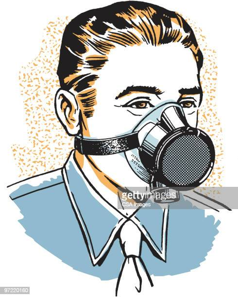 gas mask - one young man only stock illustrations