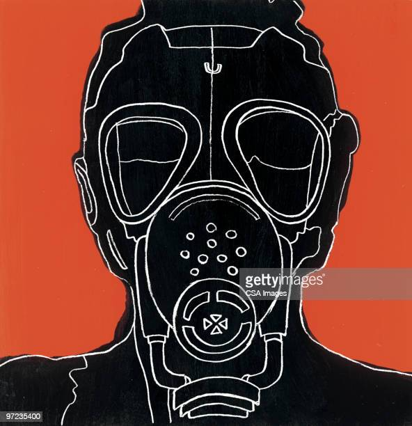 gas mask - staring stock illustrations