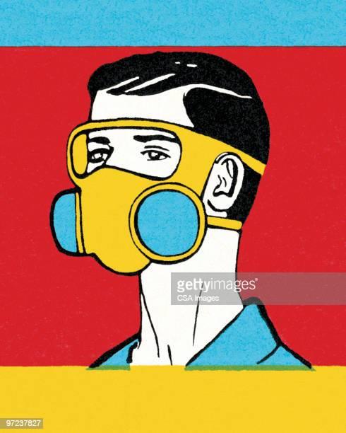 ilustraciones, imágenes clip art, dibujos animados e iconos de stock de gas mask - arma biológica