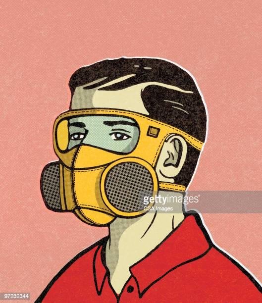 ilustraciones, imágenes clip art, dibujos animados e iconos de stock de gas masks - arma biológica