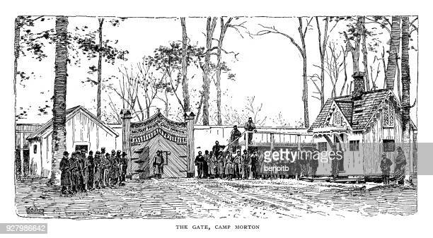gate at camp morton during the american civil war - indianapolis stock illustrations, clip art, cartoons, & icons