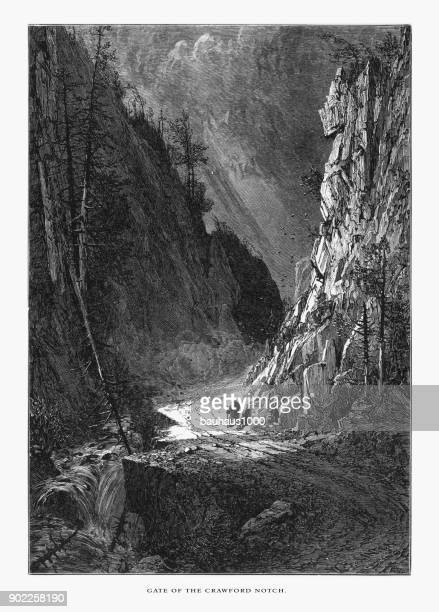 gate of the crawford notch, white mountains, new hampshire, united states, american victorian engraving, 1872 - country road stock illustrations