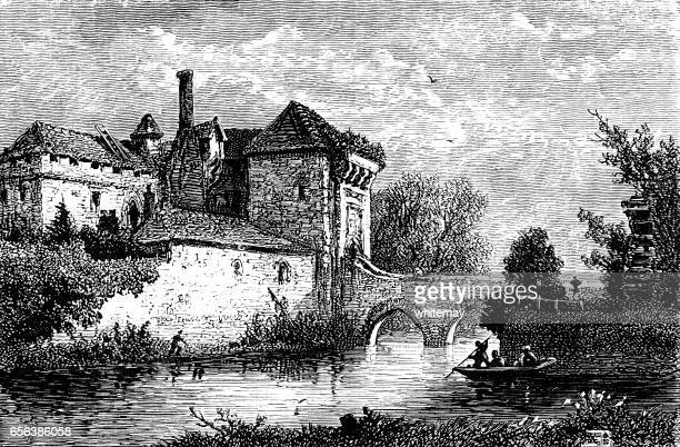 Gatehouse of Leeds Castle in Kent (Victorian engraving)