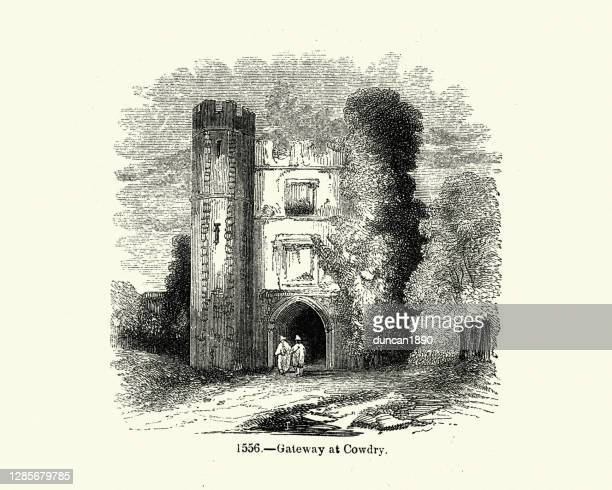 gateway at cowdray house, west sussex - cowdray park stock illustrations
