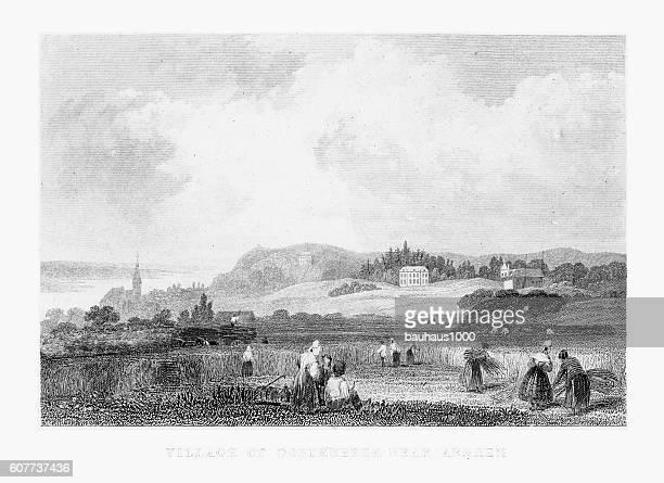 ilustrações, clipart, desenhos animados e ícones de gathering hay in village of oosterbeek near arnhem, netherlands 1887 - spire