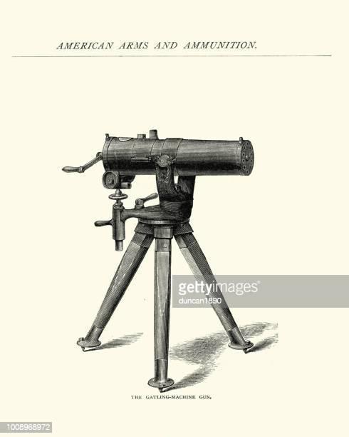 gatling machine gun, 19th century - machine gun stock illustrations, clip art, cartoons, & icons