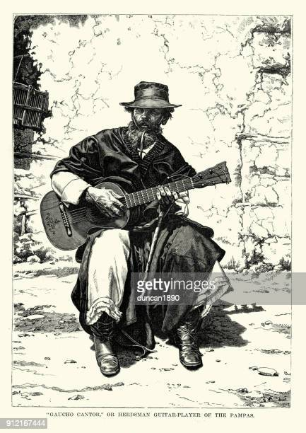 gaucho cantor, herdsman guitar player of the pampas - lutin stock illustrations