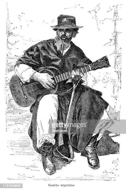 Gaucho playing guitar in Argentina 1887