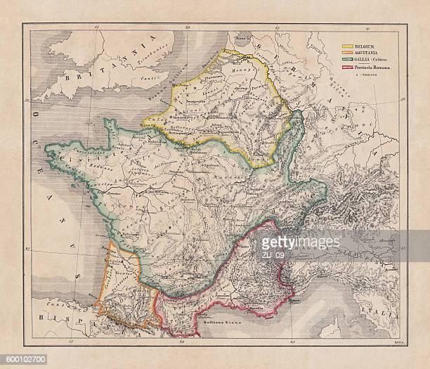 illustrazioni stock, clip art, cartoni animati e icone di tendenza di gaul in the time of julius caesar, published in 1867 - belgio