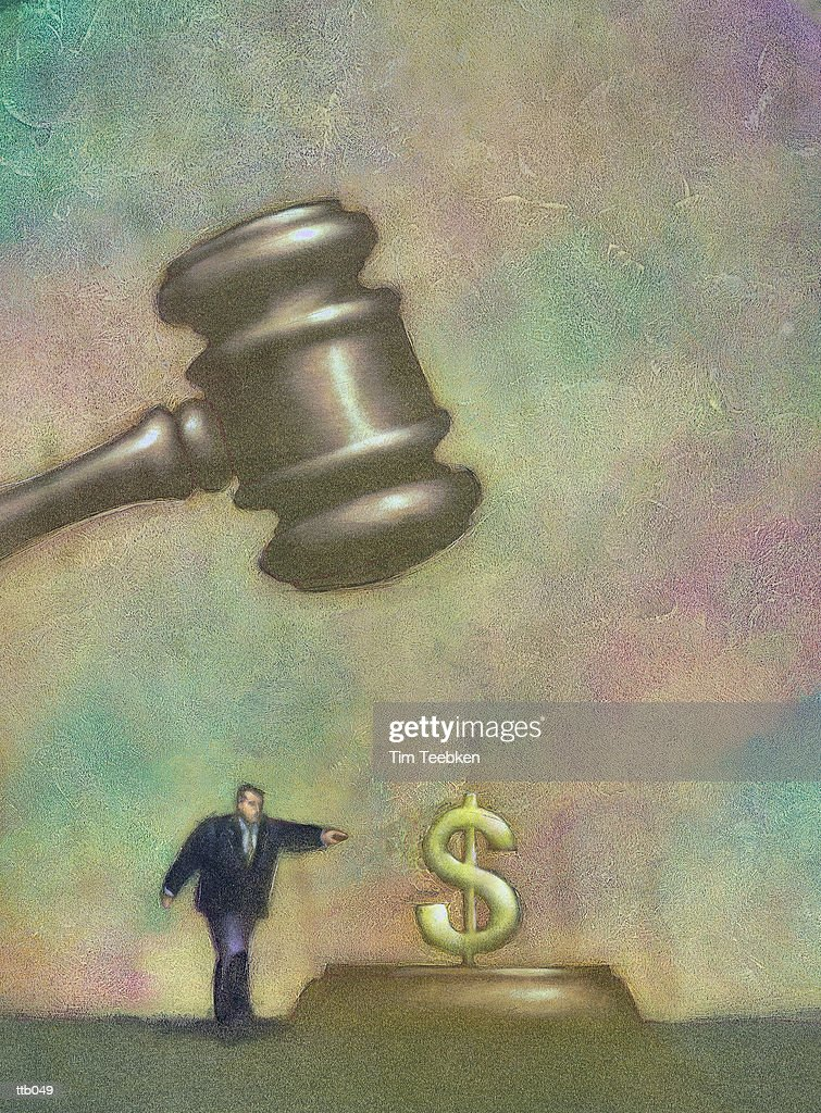Gavel Falling on Dollar Sign : stock illustration