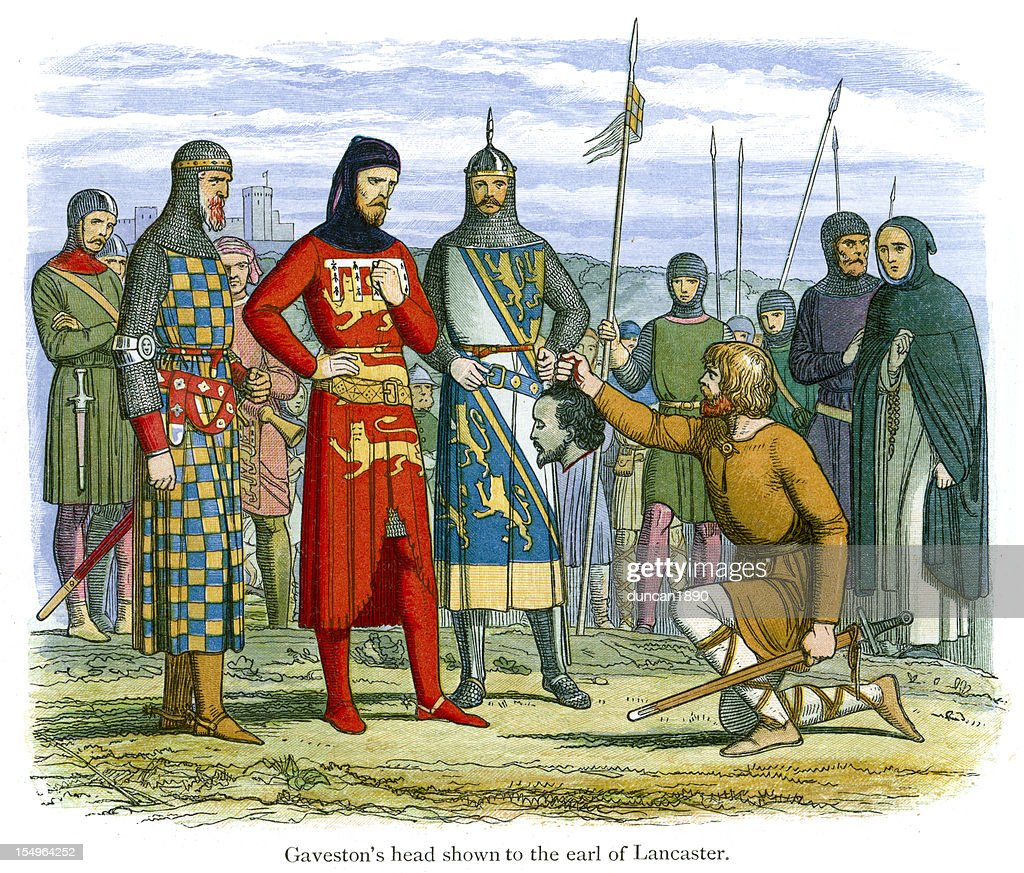 Gaveston's head shown to the Earl of Lancaster : stock illustration