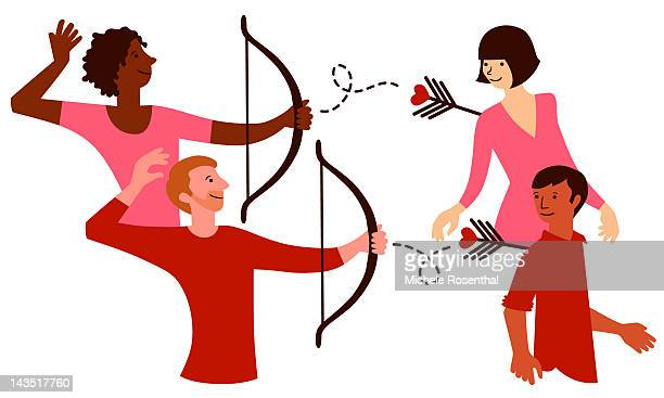 Gay man and lesbian using Cupid's bow and arrow