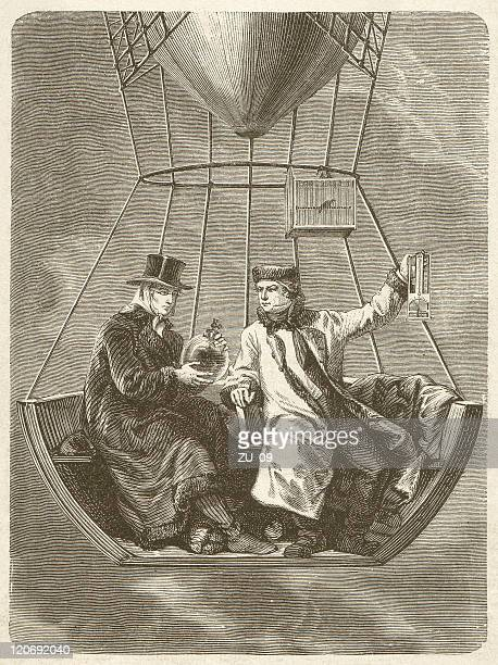 gay-lussac and biot during the ballooning (1804), published 1877 - physicist stock illustrations, clip art, cartoons, & icons