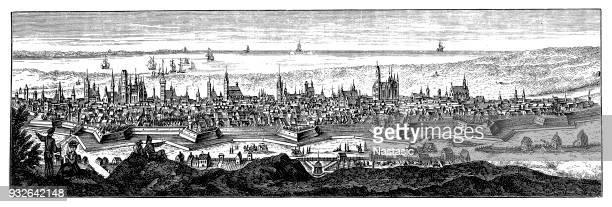 gdansk in the 18th century - gdansk stock illustrations