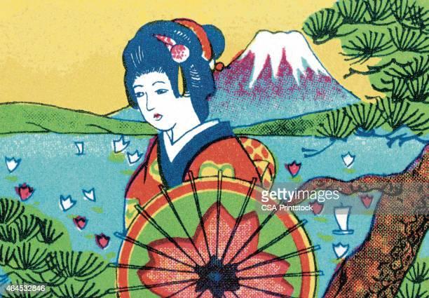 geisha and scenic lake - mt. fuji stock illustrations, clip art, cartoons, & icons