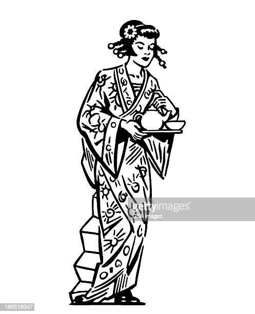 geisha - geisha stock illustrations, clip art, cartoons, & icons
