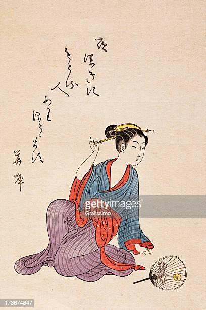 geisha sitting on the floor japan woodcut - geisha stock illustrations, clip art, cartoons, & icons
