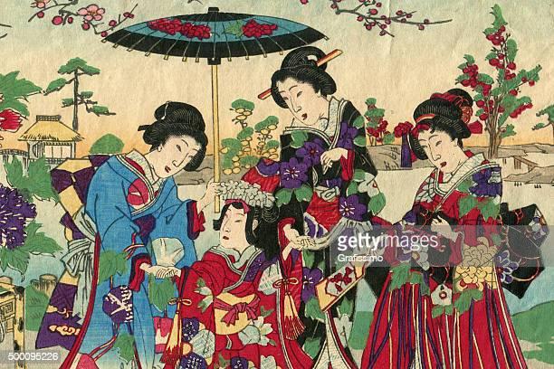 geishas with princess and court ladies woodcut 1880 - geisha stock illustrations, clip art, cartoons, & icons