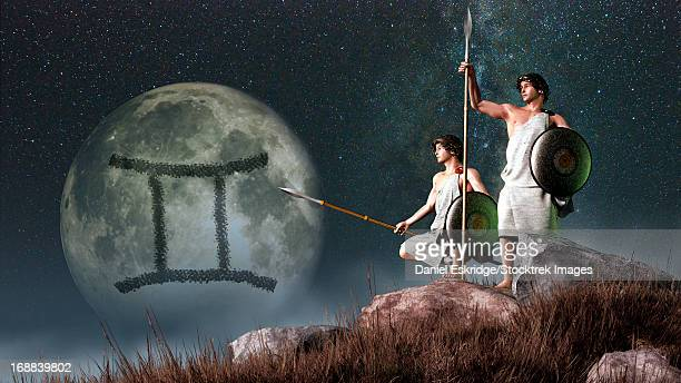 gemini is the third astrological sign of the zodiac. its symbol is the twins castor and pollux here depicted as a two greek warriors.ê - 象徴主義点のイラスト素材/クリップアート素材/マンガ素材/アイコン素材