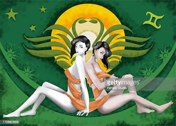 gemini zodiac sign - back to back stock illustrations, clip art, cartoons, & icons