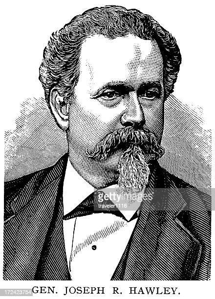 gen. joseph r. hawley - governor stock illustrations, clip art, cartoons, & icons