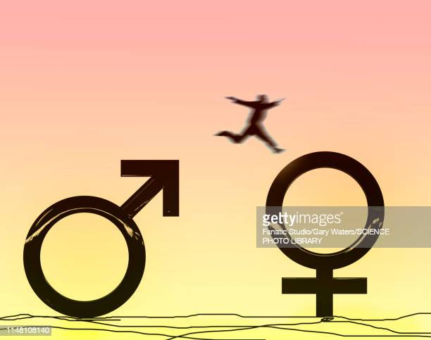 gender fluidity, conceptual illustration - 異性のカップル点のイラスト素材/クリップアート素材/マンガ素材/アイコン素材