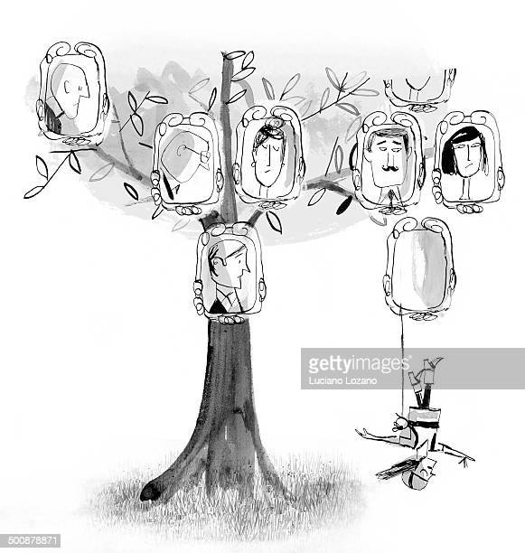 ilustraciones, imágenes clip art, dibujos animados e iconos de stock de genealogic tree - family tree