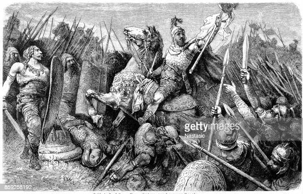 general belisarius leading the roman army against the goths in 533 ad - goth stock illustrations, clip art, cartoons, & icons