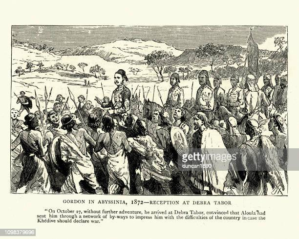 general charles george gordon in abyssinia, 1872 - ethiopia stock illustrations, clip art, cartoons, & icons