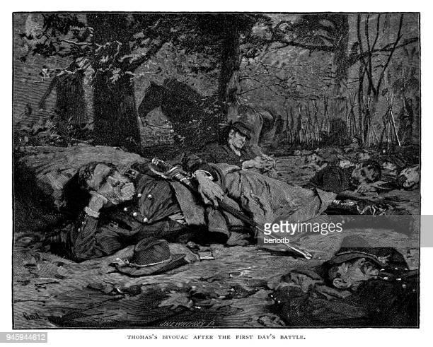 最初の日の戦いの後の将軍ジョージ ・ ヘンリー ・ トーマスのビバーク