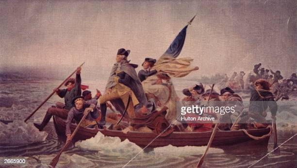 General George Washington stands in the prow of a rowing boat crossing the Delaware to seek safety in Pennysylvania after defeat by the British.