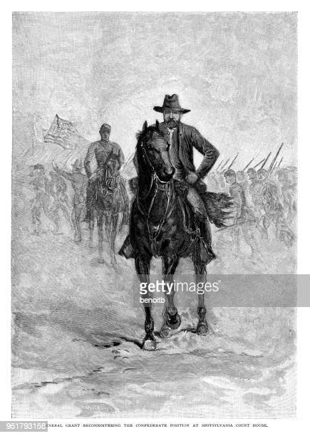general grant reconnoitering the confederate position at spotsylvania court house - ulysses s grant stock illustrations