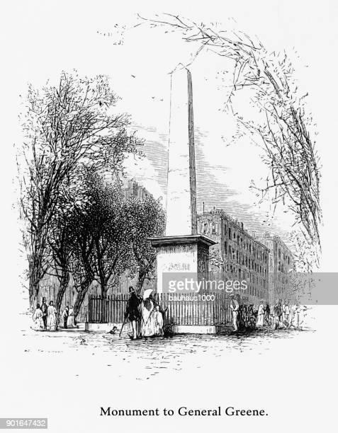 ilustraciones, imágenes clip art, dibujos animados e iconos de stock de general greene monumento, savannah, georgia, estados unidos, grabado victoriano americano, 1872 - savannah