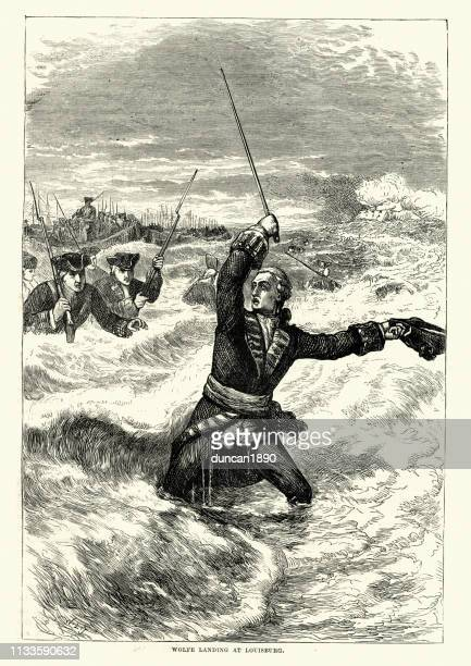 general james wolfe leading the attack on louisbourg , 1758 - louisbourg stock illustrations, clip art, cartoons, & icons