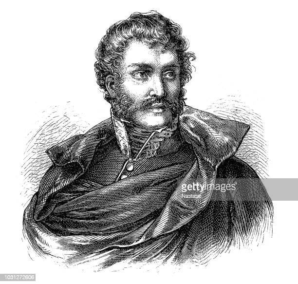 general martín francisco javier mina y larrea, 1789-1817, nicknamed el mozo, a spanish lawyer and army officer and a mexican revolutionary. - guerrilla warfare stock illustrations